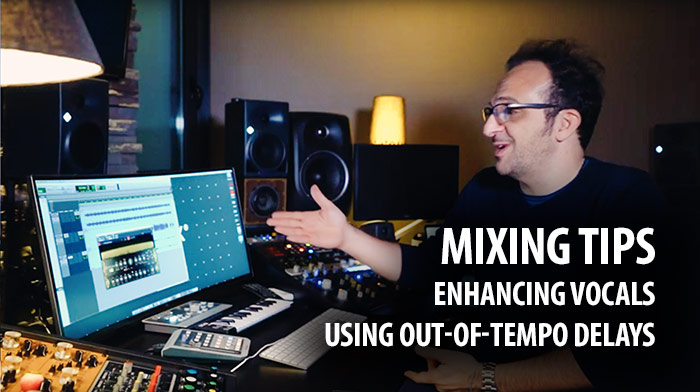Mixing vocals with out of tempo delays
