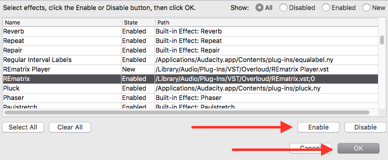 How to use an Overloud plugin with Audacity | Overloud